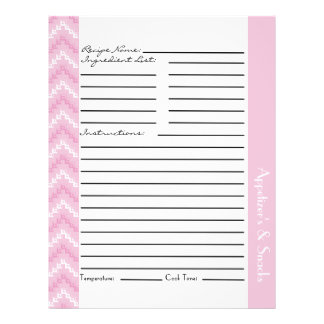 Pink Diamond Zigzag Chevrons Recipe Sheets Full Color Flyer