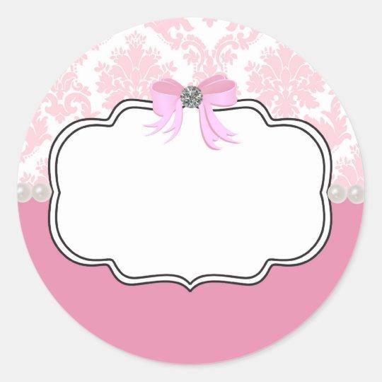 Pink Diamonds and Pearls Damask Invitation Classic Round