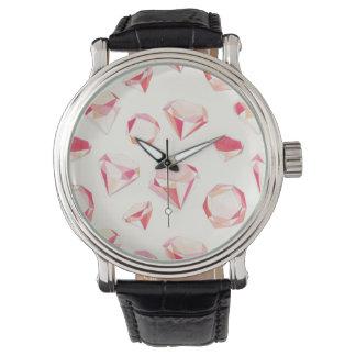 Pink Diamonds Geometric Hand Drawn Watch