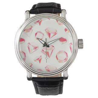 Pink Diamonds Geometric Hand Drawn Wrist Watch