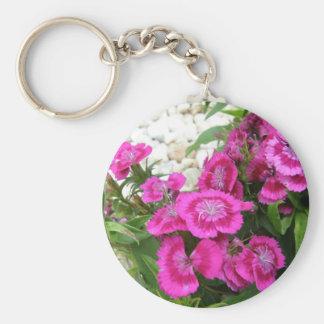 Pink Dianthus/Sweet William Basic Round Button Key Ring