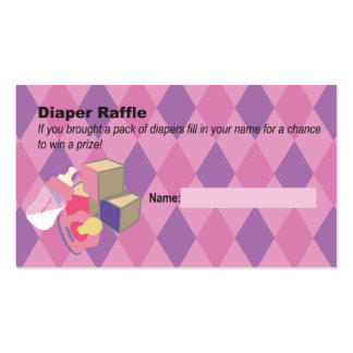 Pink Diaper Raffle Ticket Baby Shower Double-Sided Standard Business Cards (Pack Of 100)