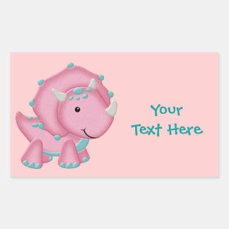 Pink Dino Rectangular Sticker