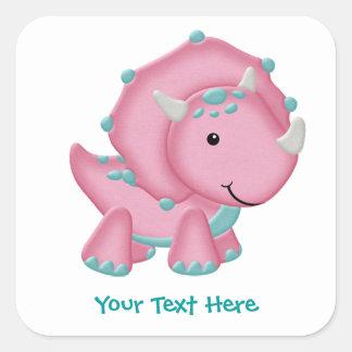 Pink Dino Square Sticker