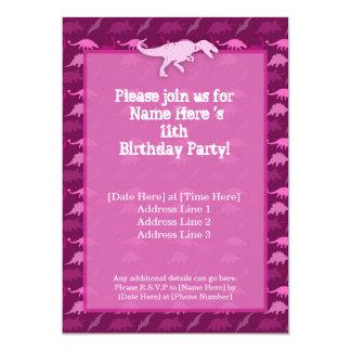 Pink Dinosaur Birthday Invitation