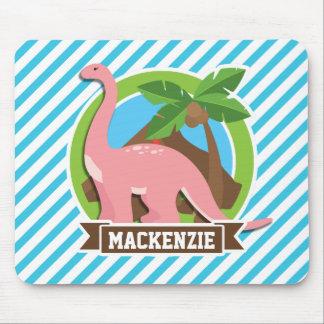 Pink Dinosaur; Blue & White Stripes Mousepad