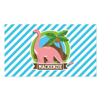 Pink Dinosaur; Blue & White Stripes Pack Of Standard Business Cards