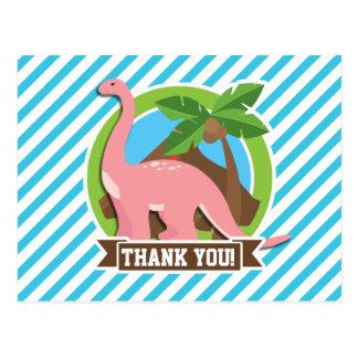 Pink Dinosaur; Blue & White Stripes Post Cards