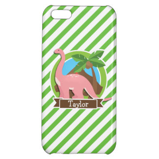 Pink Dinosaur, Dino; Green & White Stripes Case For iPhone 5C