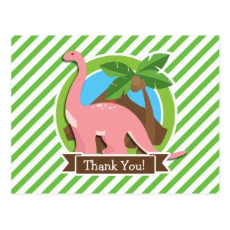 Pink Dinosaur, Dino; Green & White Stripes Postcards