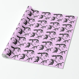 Pink Dinosaur Skeleton bones! fun dino Birthday Wrapping Paper