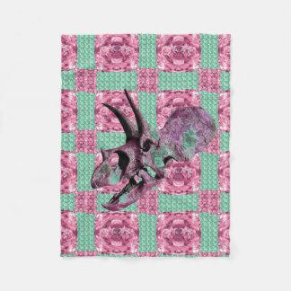 Pink Dinosaur Skull Pattern Blanket