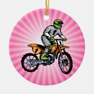 Pink Dirt Bike. Christmas Ornament