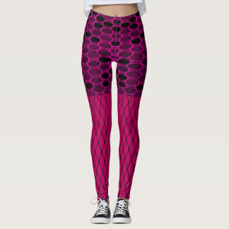 Pink disc and net Texture Leggings, Woman's Leggings