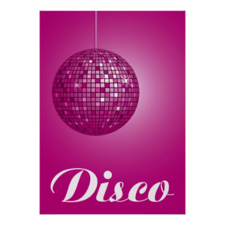 pink disco ball poster