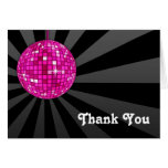 Pink Disco Ball Thank You Note Note Card
