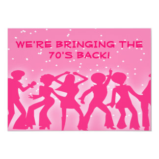 Pink Disco Theme 70's Party 13 Cm X 18 Cm Invitation Card
