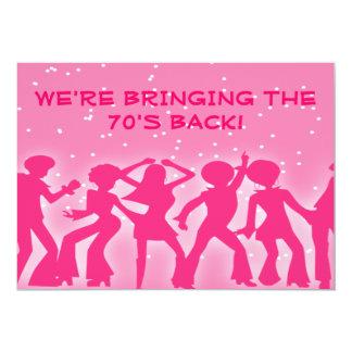 Pink Disco Theme 70's Party 13 Cm X 18 Cm Invitation Card