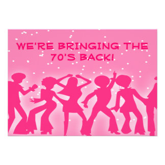 Pink Disco Theme 70's Party Custom Invitations