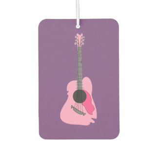 Pink Distorted Abstract Acoustic Guitar Car Air Freshener