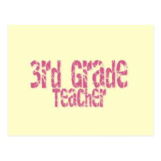 Pink Distressed Text 3rd Grade Teacher Postcard