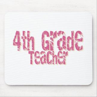 Pink Distressed Text 4th Grade Teacher Mouse Mat