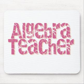 Pink Distressed Text Algebra Teacher Mouse Pad