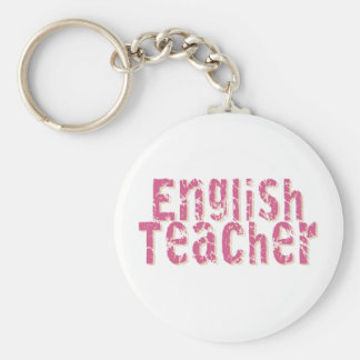 Pink Distressed Text English Teacher Key Ring