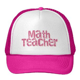Pink Distressed Text Math Teacher Trucker Hats