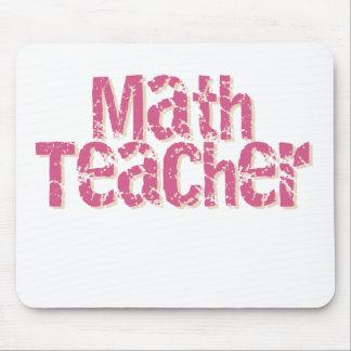 Pink Distressed Text Math Teacher Mouse Pad