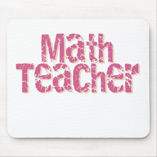 Pink Distressed Text Math Teacher Mouse Mat