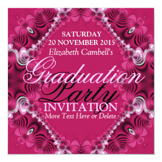 Pink Diva Fractal Lace Graduation Party Invitation
