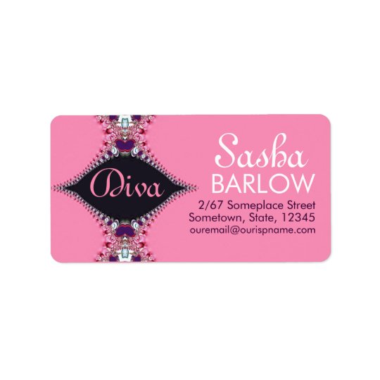 Pink Diva Jewel Lace Monogram Address Label