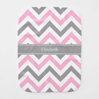 Pink Dk Gray White LG Chevron Gray Name Monogram Burp Cloth