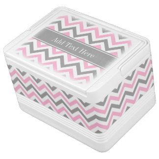 Pink Dk Gray White LG Chevron Gray Name Monogram Igloo Cool Box