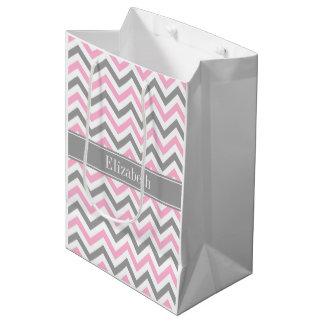 Pink Dk Gray White LG Chevron Gray Name Monogram Medium Gift Bag