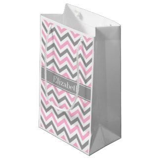 Pink Dk Gray White LG Chevron Gray Name Monogram Small Gift Bag