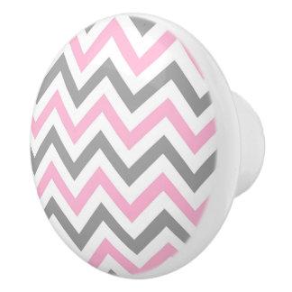 Pink, Dk Gray Wht Large Chevron ZigZag Pattern Ceramic Knob