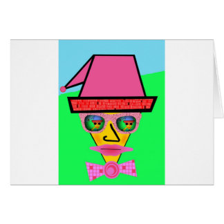 Pink Dog Humanoid Face - Add Your Text Slogan Greeting Card