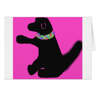 pink dog new pet card with flowers