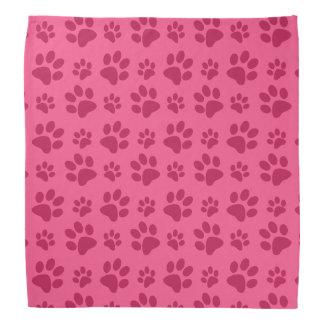 Pink dog paw print bandana