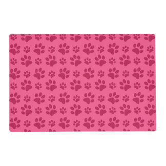 Pink dog paw print laminated place mat