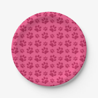 Pink dog paw print 7 inch paper plate