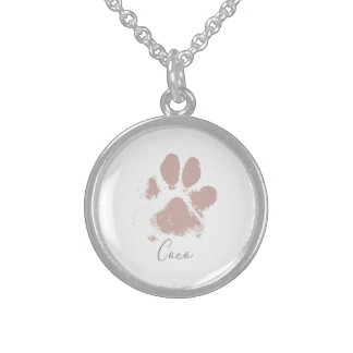 Pink Dog Paw Print with Your Pet's Name Sterling Silver Necklace