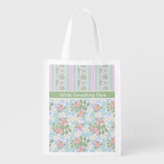 Pink Dog Roses and Stripes Custom Shopping Bag