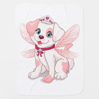 Pink dog sitting baby blanket