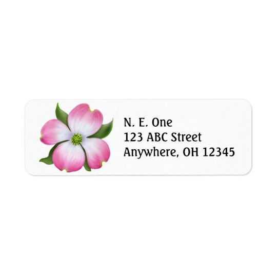Pink Dogwood Blossom Label
