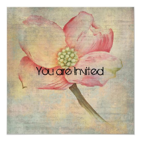 Pink Dogwood Flower Baby Shower Card