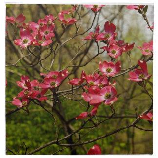 Pink Dogwood Flowers on Cloth Dinner Napkins