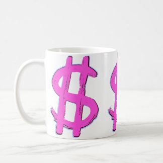 Pink Dollar Sign Coffee Mug